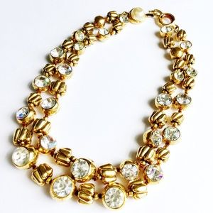 Chanel Double-Strand Crystal & Bead Necklace